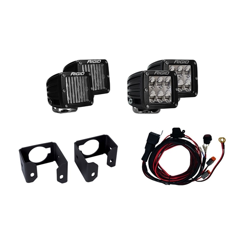 Rigid Industries 17-18 Ford Super Duty Dual Fog Light Kit Includes Mounts and 4 D-Series RIGID Industries
