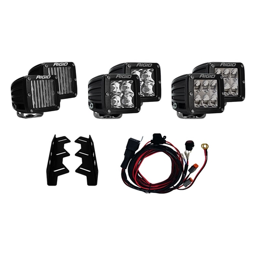 Rigid Industries 17-18 Ford Raptor Fog Light Kit Includes Mounts and 6 D-Series RIGID Industries