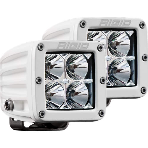 Rigid Industries Hybrid Flood Surface Mount White Housing Pair D-Series Pro RIGID Industries