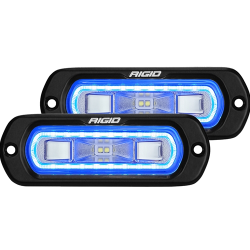 Rigid Industries SR-L Series Off-Road Spreader Pod 3 Wire Flush Mount With Blue Halo Pair RIGID Industries