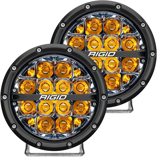 Rigid Industries 360-Series 6 Inch Led Off-Road Spot Beam Amber Backlight Pair RIGID Industries