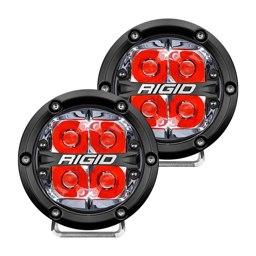 Rigid Industries 360-Series 4 Inch Led Off-Road Spot Beam Red Backlight Pair RIGID Industries